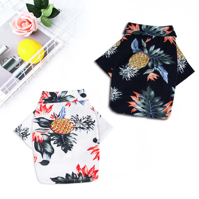 Fashion Summer Vacation Dog Clothes T-Shirt Costume Dogs Cats Cotton Printed Pet Puppy Chihuahua Clothing Pug Yorkshire Shirts