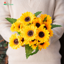 High Quality  Artificial Sunflower Flowers 10cm Big Head Silk for Crafting Farmhouse Home Decor Decoration