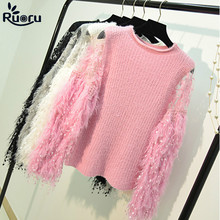 Ruoru Cute Autumn Winter Women Tassel Knitted Sweater Sweet Puff Sleeve Female Lace Bling Pink White Drop Shipping