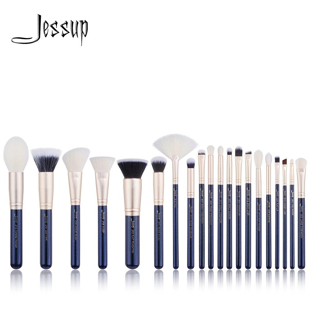 Jessup 20PCS Prussian Blue Golden Sands Professional Makeup brushes set Cosmetic tools Make up brush POWDER