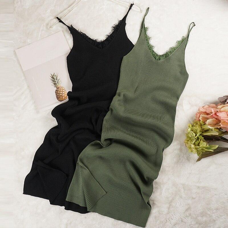 New Women Spaghetti Strap Dresses Split V-Neck Lace Patchwork Knitted Dress Ladies Sleeveless Bodycon Tank Dress Vestidos P022
