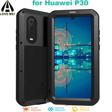 LOVE MEI For Huawei P30 Phone Case Luxury Aluminum Metal Armor Shockproof Life Waterproof POWERFUL Cover with Gorilla Glass Film стоимость
