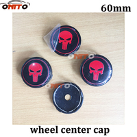 100pcs 60mm Black Red Punisher Skull Auto Wheel Center Badge For Golf Passat Polo Tiguan Car Wheel Center Caps Alloy Emblem
