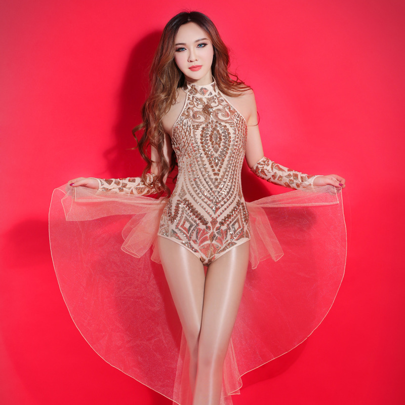 Custom Style Sexy Nightclub Clothes Gold Sequins Bodysuit Dj Crystal Jumpsuit Woman Stage Outfit Stage Costumes For Singers