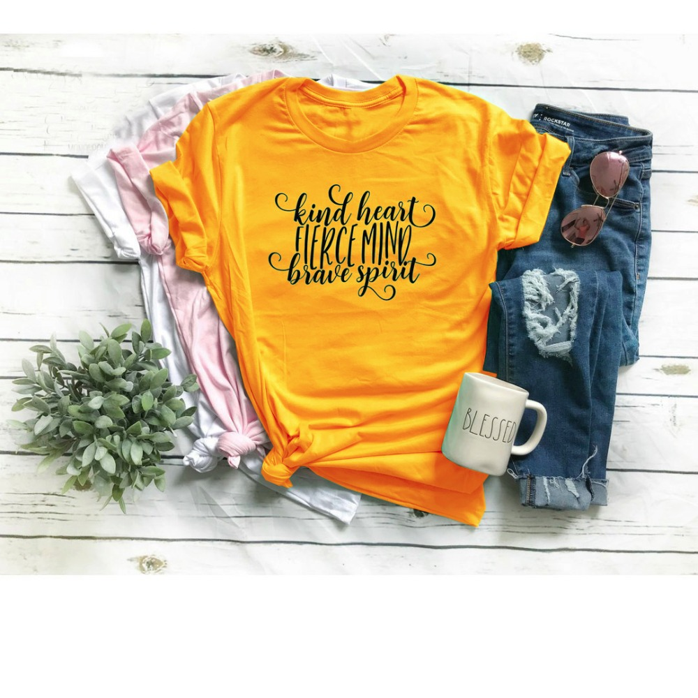 Art Herz Fierce Geist Tapferen Geist Werden Art t-shirt Inspirational T frauen mode slogan Christian Bibel taufe Jesus hemd