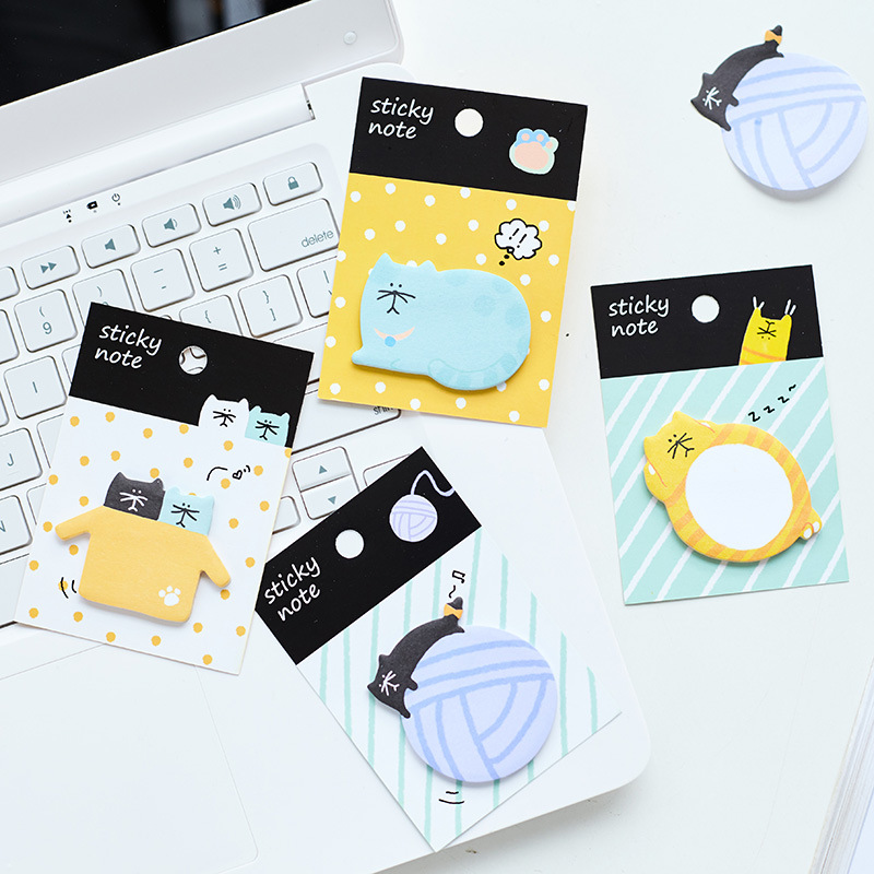 NOVERTY kawaii animal cat post it memo pad cute cartoon self-adhesive stickers bookmark Office School supply Stationery 01952