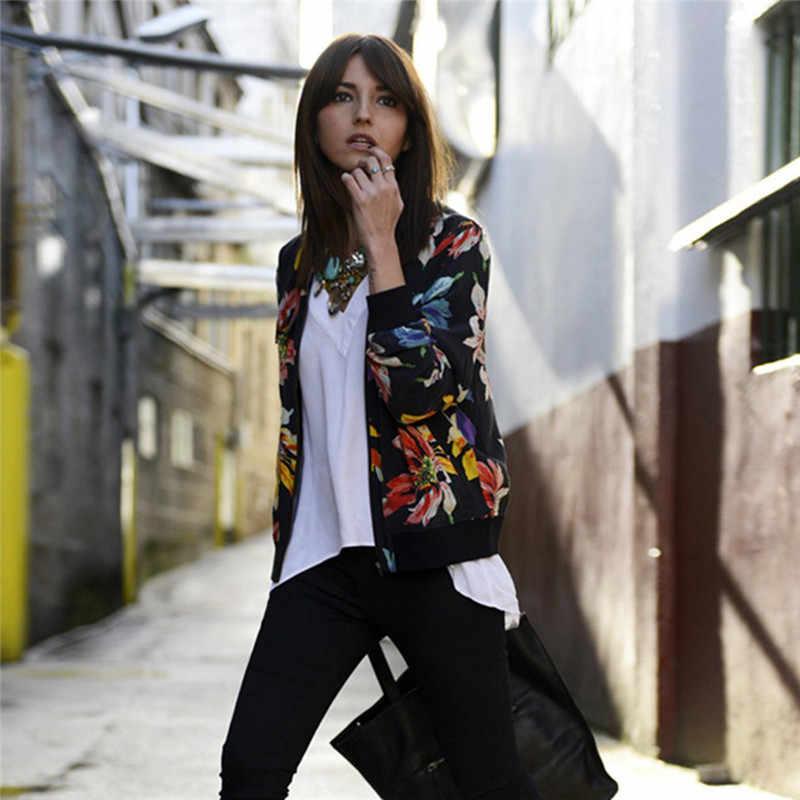 Женские черные Цветочный принт с длинным рукавом Курточка бомбер Для женщин пальто на весну-осень женский Винтаж на молнии в этническом стиле куртка базовое пальто