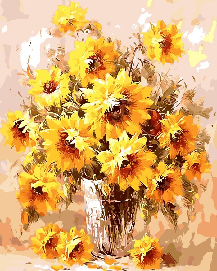 Květ slunečnice Obrázek Domů Dekor bez rámečku Obraz obrazu Podle čísel vlaštovka Ruční práce Nakreslete na plátno Obývací pokoj Nástěnné umění