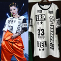 2017 Fashion Adult hip hop top dance T-shirt black white letter short-sleeve personality costume performance Lengthed t-shirts