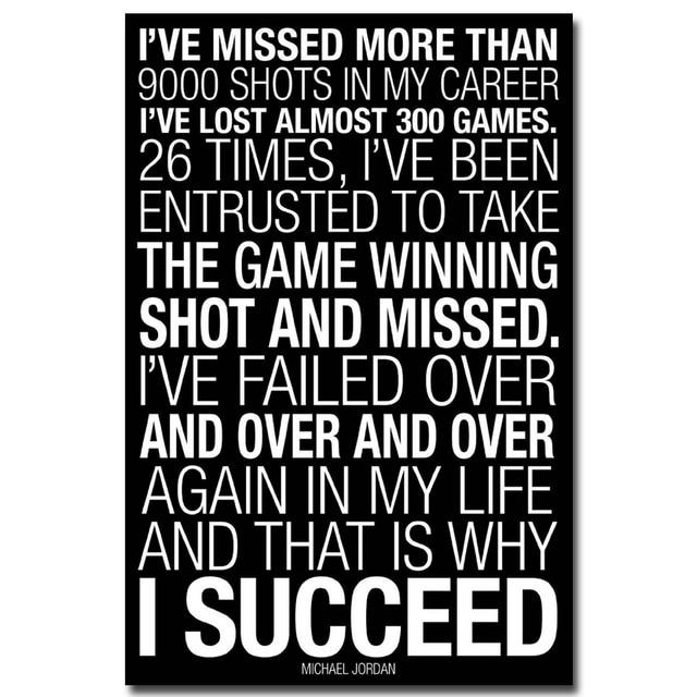 Nicoleshenting Why I Succeed Michael Jordan Motivational Quotes Art Silk Fabric Poster Print 12x18 20x30