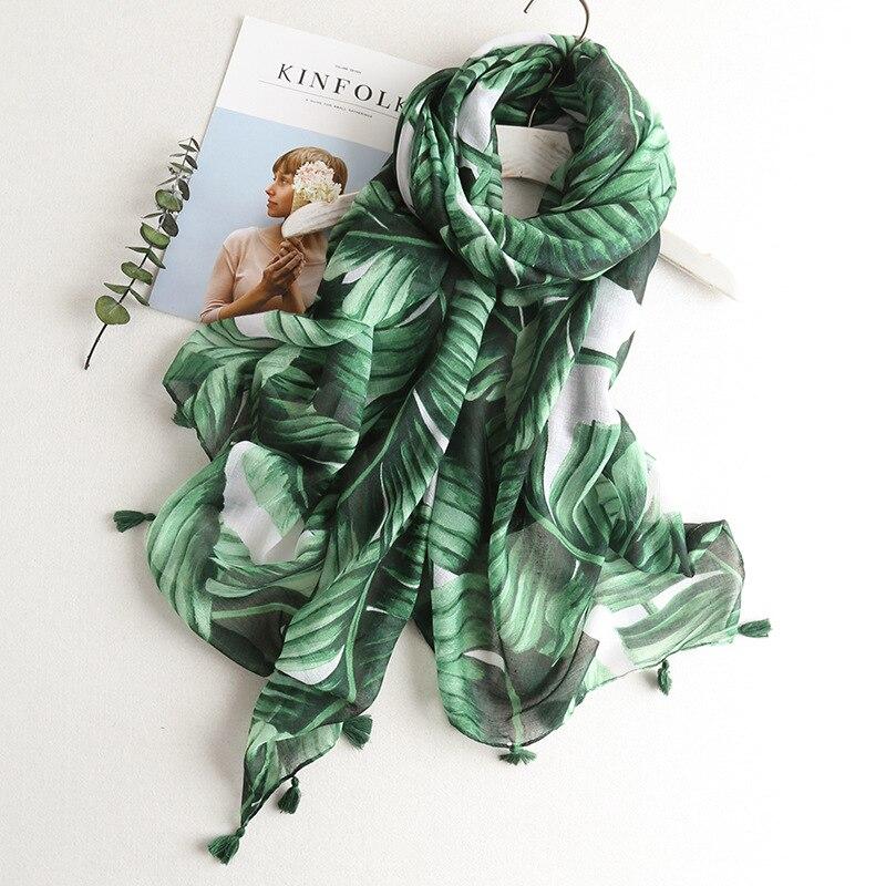 2019 New Women's Fashion Green Floral Tassel Viscose Shawl   Scarf   Female Long Soft Muslim Hijab Sjaal Head   Wraps   Snood 180*100Cm