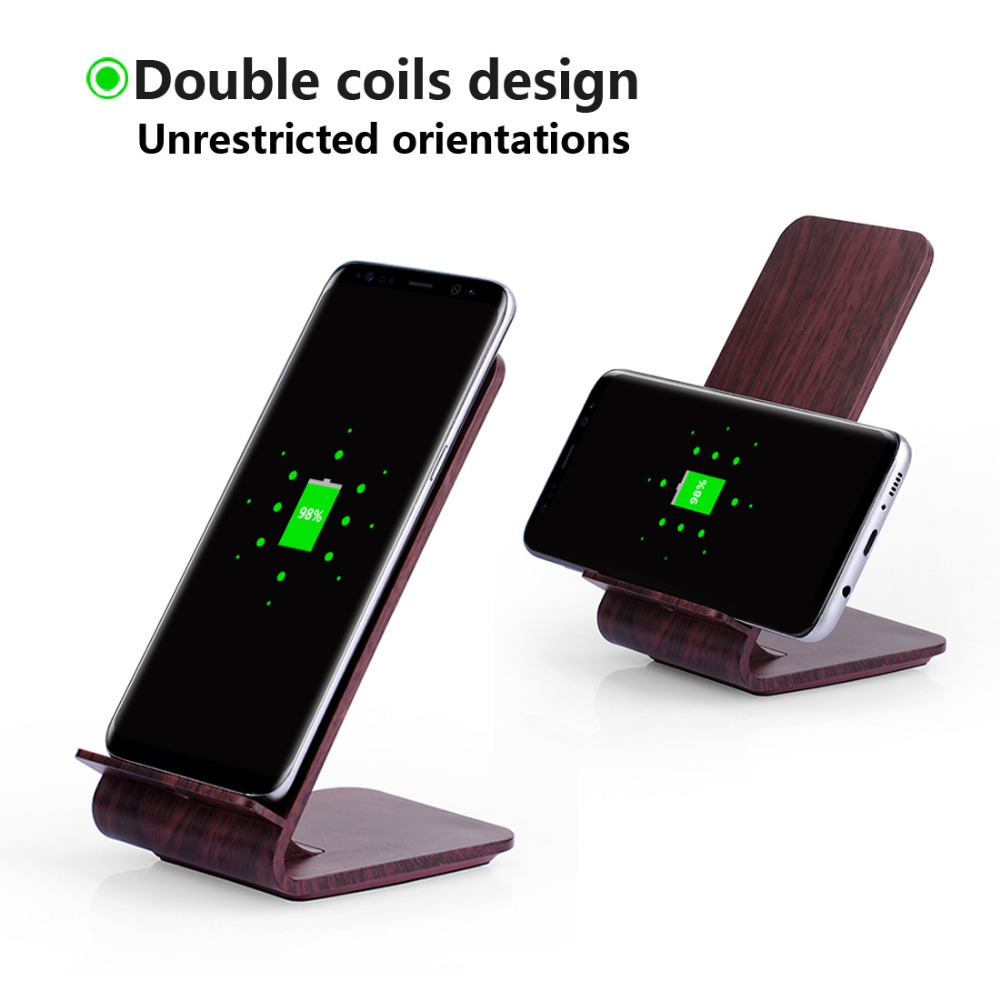 Newestzy 2 in 1 Phone Accessories Fast Wireless Charger Mobile Phone Bracket for Samsung S8 S8 S7 Edg for iPhone 8 X Nexus5
