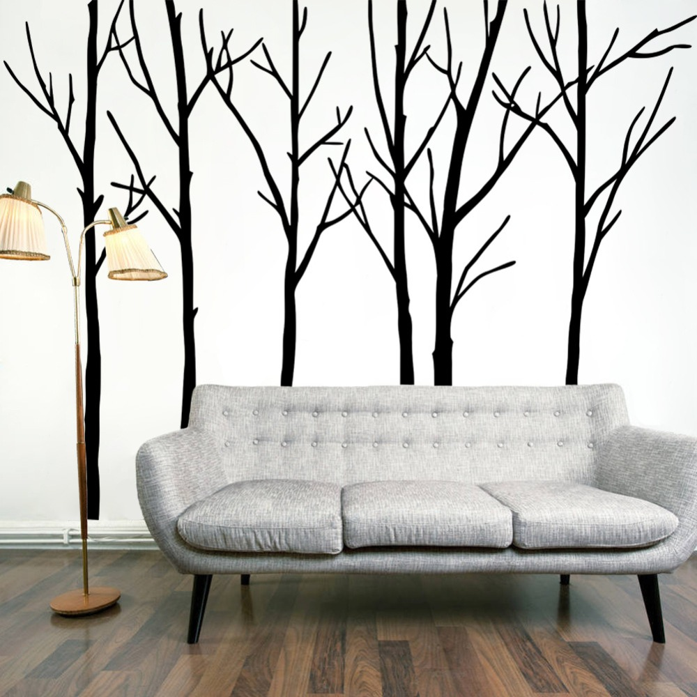 Big Black Tree Wall Stickers For Living Room Home Decoration Background Pvc Plane Plant Mural Door Diy Wallpaper Rushed Sale