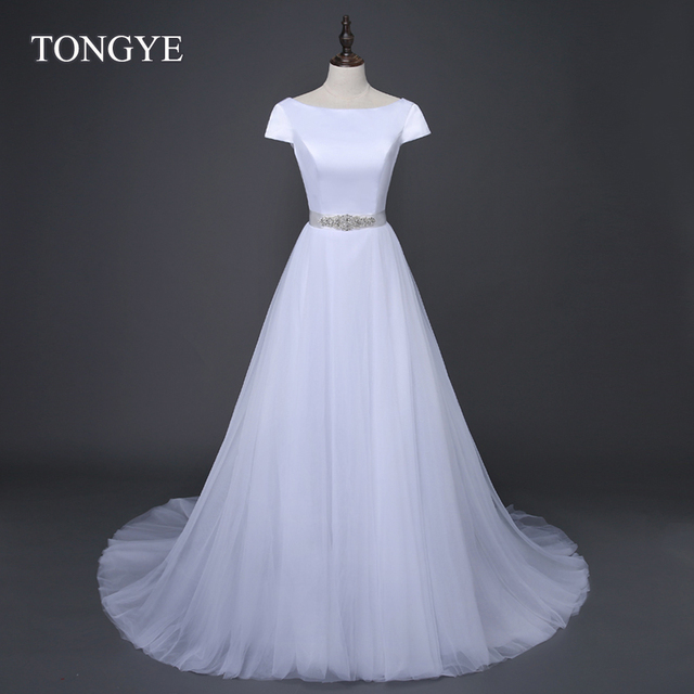 Simple Plus Size Wedding Dresses 2017 Bridal Cap Sleeve Scoop A Line Tulle Vestido De