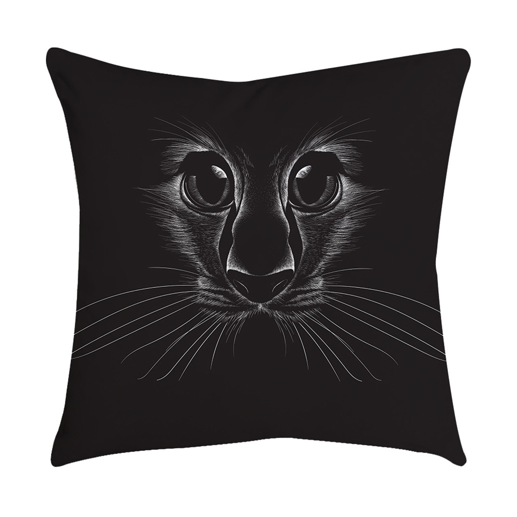 Rose Black Gold Cat Eyes Cushion Cover Square Pillowcase Bedroom Home Decoration
