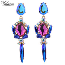 2017 Vedawas Brand Fashion Luxury Statement 2 Colors Crystal Stud Earring for Women Trend Colorful Gems Earrings wholesale 1304