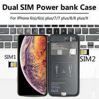 Dla iPhone 6/7/8 plus/X nowy ultracienki Bluetooth Dual SIM Dual standby Adaper długi czas czuwania 7 dni z 1500/2500 mAh Power Bank