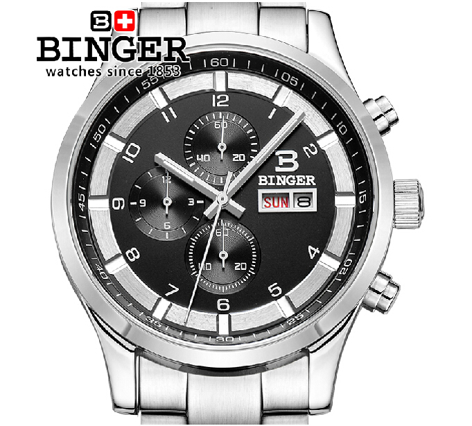 Switzerland watches men luxury brand Wristwatches BINGER Quartz full stainless leather strap steel waterproof 300M BG-0403-3