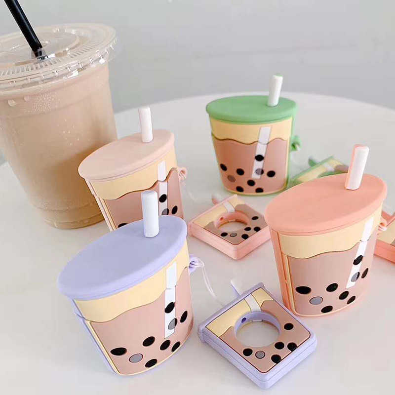 For AirPods 2nd Case Cartoon Cute Funny Milk Bubble Tea Drink Bottle Earphone Protect Cover For Airpods 2 with Finger Ring Strap