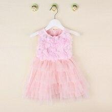 ade71956f 2016 صيف جديد أكمام الوردي روزيت اللباس/كوريا نمط أزياء أنيقة ليتل بنات  الأميرة الرباط