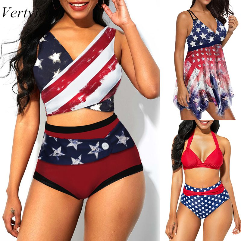 Vertvie Women American  Theme Two Piece Swimsuit V- Neck Tankini Set High Waist Bikini Set Tank Top With Panty 2019