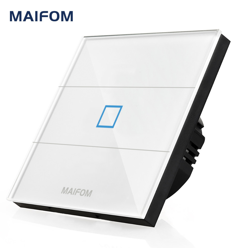 EU UK Standard Touch Switch MAIFOM Wall Mounted Crystal Glass Panel AC110~240V LED Indicator Lighting Touch Screen Switch