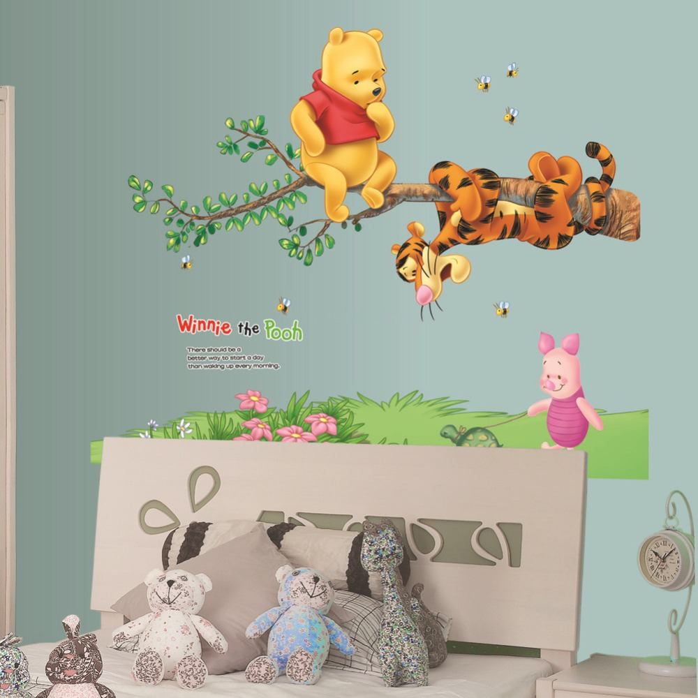 Winnie The Pooh Tigger Piglet Tree Wall Stickers Home Decor Wallpaper Decals Vinyl Kids Room Nursery Art Mural In From