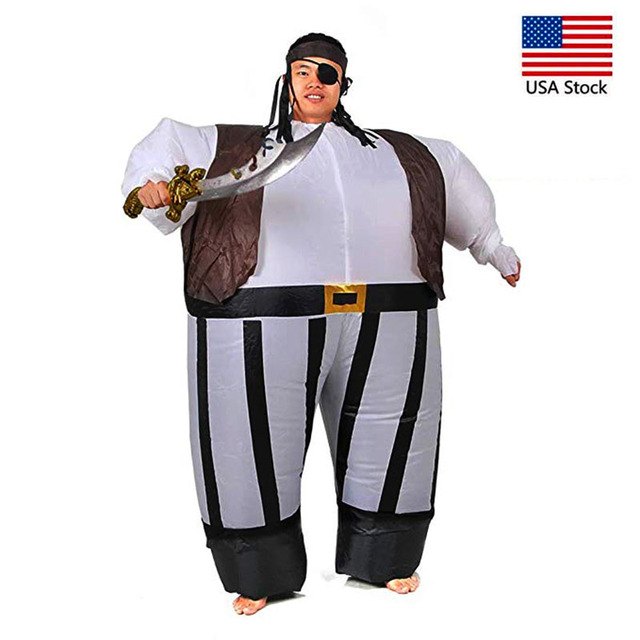 143c304c010 US $25.86 25% OFF|Inflatable Pirate Captain Fancy Dress Costume Fat Sumo  Suit Adult Pirates of the Caribbean Role Play Halloween Anime Costumes -in  ...
