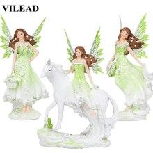 action figure Resin Angel Fairy Figurine Unicorn Horn Flower Statue Horse Miniatures Modern Animal Home Decoracion Hogar