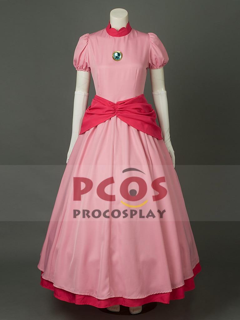 Super Mario Bros Princess Peach Pink Cosplay Costume & Crown mp003319