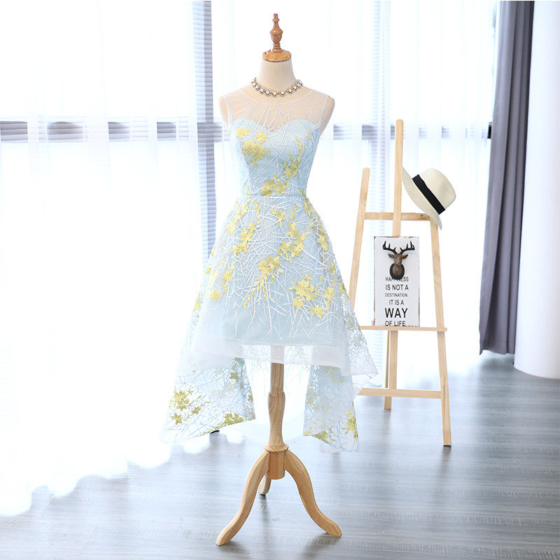 In Stock Tulle With Embroidery Asymmetrical Tea-Length Scoop Neck Sleeveless Vestidos De Festa Zipper Onepiece Party Dresses