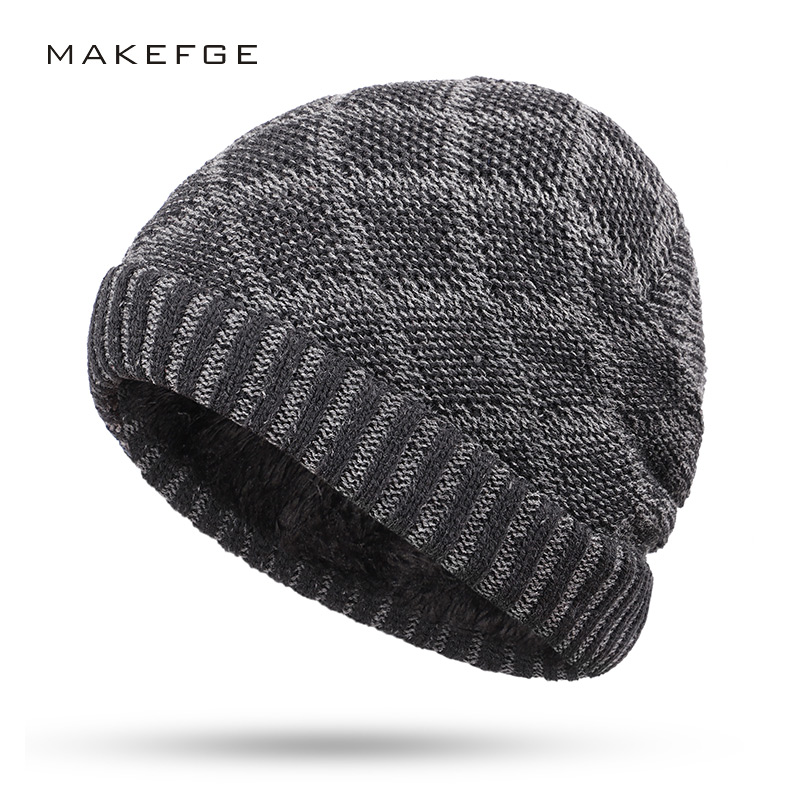 Winter men's knit hats warm and comfortable skiing plus velvet thick caps checkered solid color double layer   Skullies     Beanies