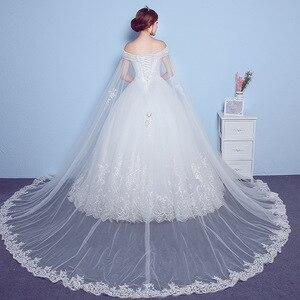 Image 2 - Lace Appliques Big Embroidery Wedding Dress 2020 New Arrival Sexy Boat Neck Off the Shoulder Korean Plue Size vestido de noiva