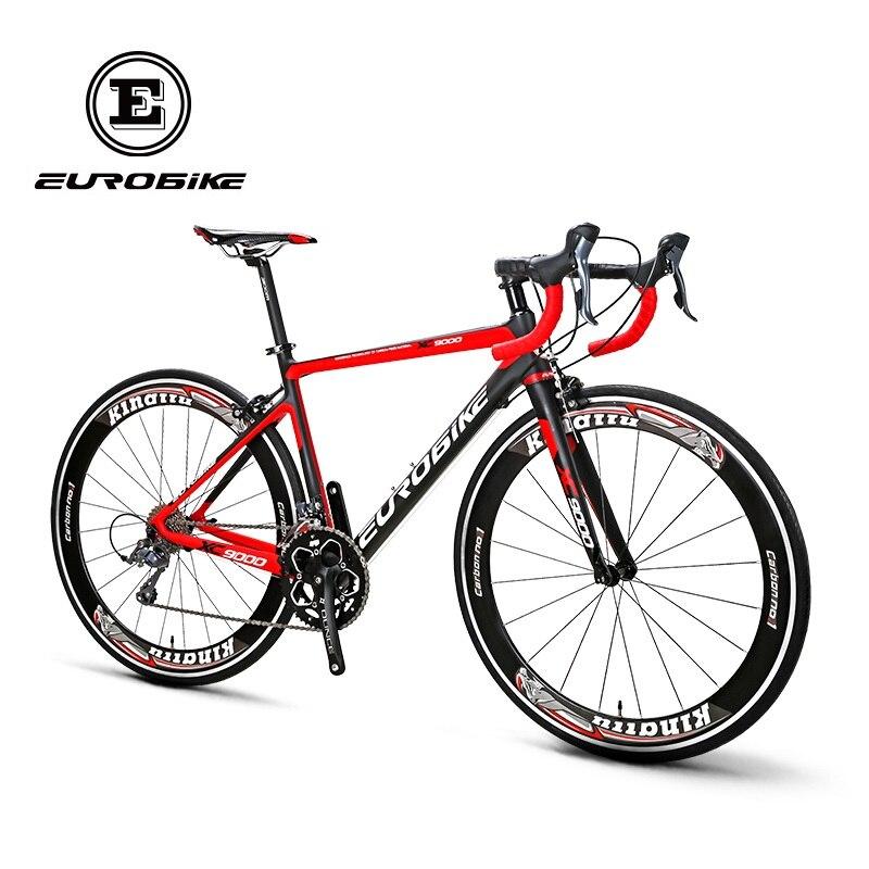 EUROBIKE 700C Full Carbon Fiber 47cm Frame Complete Racing  Bicycle 16 Speed  Claris 2400 Gears  Road Bike