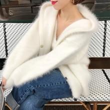 Классический вязаный свитер с капюшоном из натурального норкового кашемира, пальто из натурального мягкого зимнего и осеннего кардигана с капюшоном tbsr337