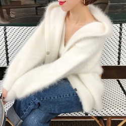 Hooded Classical Knitted Pure Genuine Mink Cashmere Sweater Coat Natural 2019 Soft Winter Autumn Cardigans with hood tbsr337