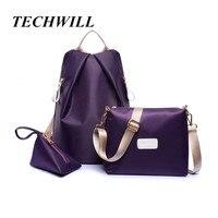 NEW Nylon Backpack 3 Pcs Set Women Bag High Quality Travel Backpack Colorful Shoulder Bags Coin
