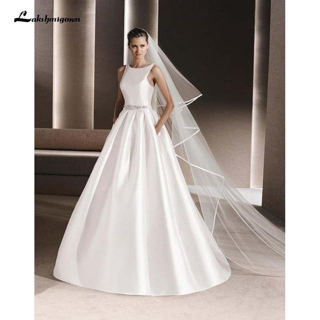 Y Rous Satin A Line Wedding Dresses 2016 High Neck Floor Length Grown Party