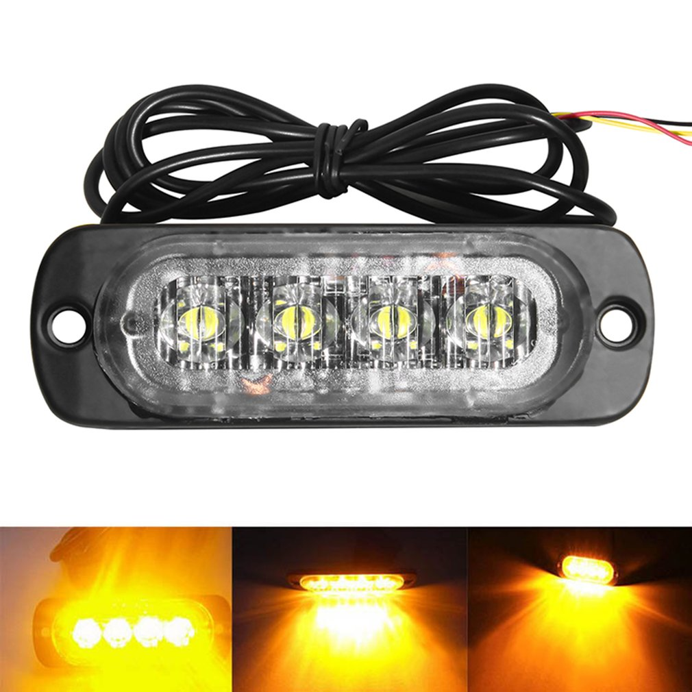 4 LED 12-24V Car Strobe Flash Light White/Red/Amber Light Vehicle Truck Rear Side Light Car Emergency Warning Lamp Drop Shipping люстра накладная 06 2484 0333 24 gold amber and white crystal n light