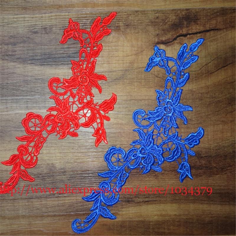 3Pairs6Pcs Wedding Headband Hair Accessories Venise Lace Beautiful 5Colors Flower Floral Motif Appliques 29X 12cm BD0105