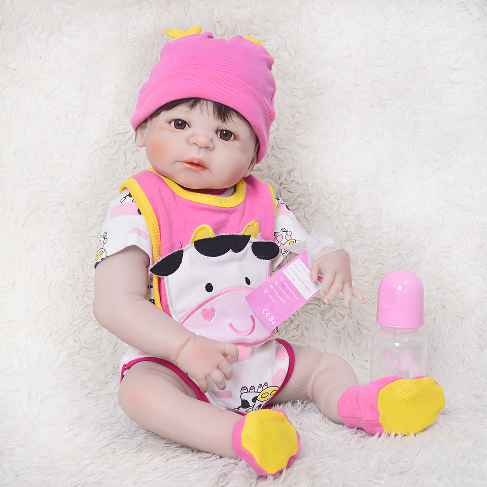 Lovely Full Silicone Vinyl Body Reborn Baby Girl toys Lifelike 23 inch Newborn Babies Doll Waterproof Children Christmas Gifts lifelike american 18 inches girl doll prices toy for children vinyl princess doll toys girl newest design