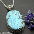 Hermosa Jewelry Unique Huge Blue Turquoise Retro 925 Sterling Silver Necklace Pendants 70MM HM222
