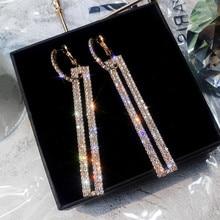 FYUAN, модные длинные геометрические висячие серьги, роскошные золотые серебряные прямоугольные стразы, серьги для женщин, вечерние ювелирные изделия, подарок
