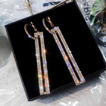 FYUAN Fashion Long Geometric Drop Earrings Luxury Gold Silver Color Rectangle Rhinestone Earring for Women Party Jewelry Gift 1