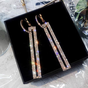 FYUAN Long Gold Silver Earring for Women Jewelry
