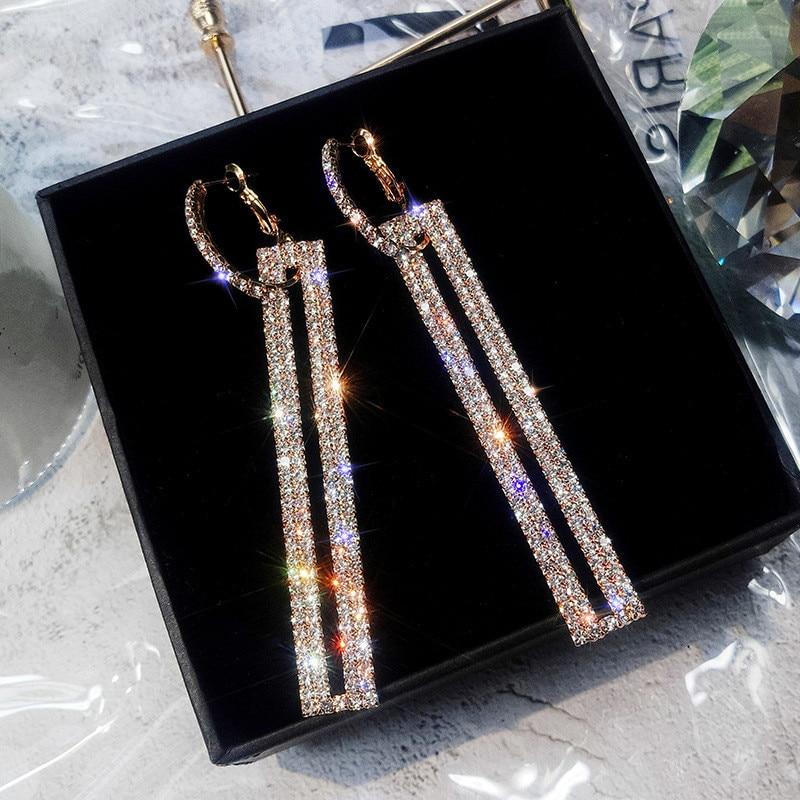FYUAN Fashion Long Geometric Drop Earrings Luxury Gold Silver Color Rectangle Rhinestone Earring for Women Party Jewelry Gift