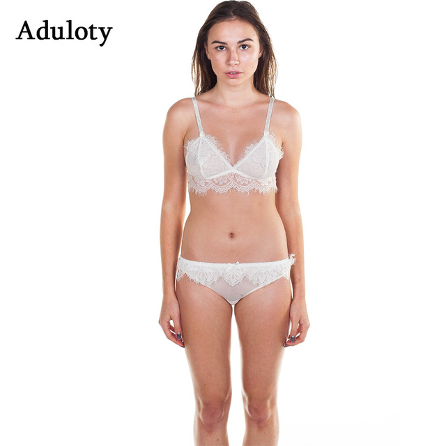 a4b9a41f07aa5 Banded Lace Triangle Bralette Set Sexy Semi Sheer Bra Panty Long Line Soft  Cup Plunge Brassiere Suit