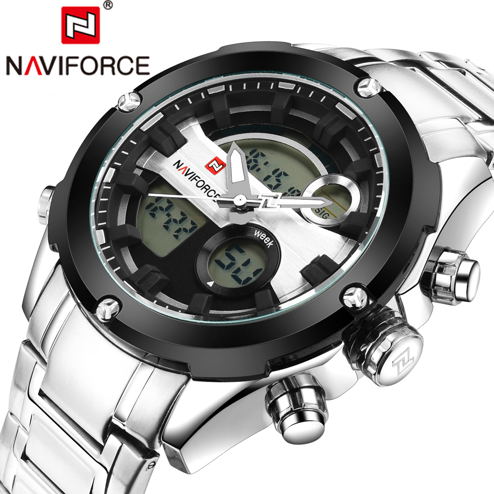 NAVIFORCE Full Steel Men Sport Watch Men's Quartz Top Luxury Brand Analog LED Clock Man Military Wrist Watch Relogio Masculino top brand luxury digital led analog date alarm stainless steel white dial wrist shark sport watch quartz men for gift sh004