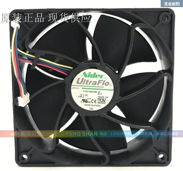 Nidec V12E12BS2M9-07 A13 Server Square Cooling Fan DC 12V 1.85A 120x120x38mm 4-wire emacro for nonoise a8025h24b server square fan dc 24v 0 095a 80x80x25mm 2 wire