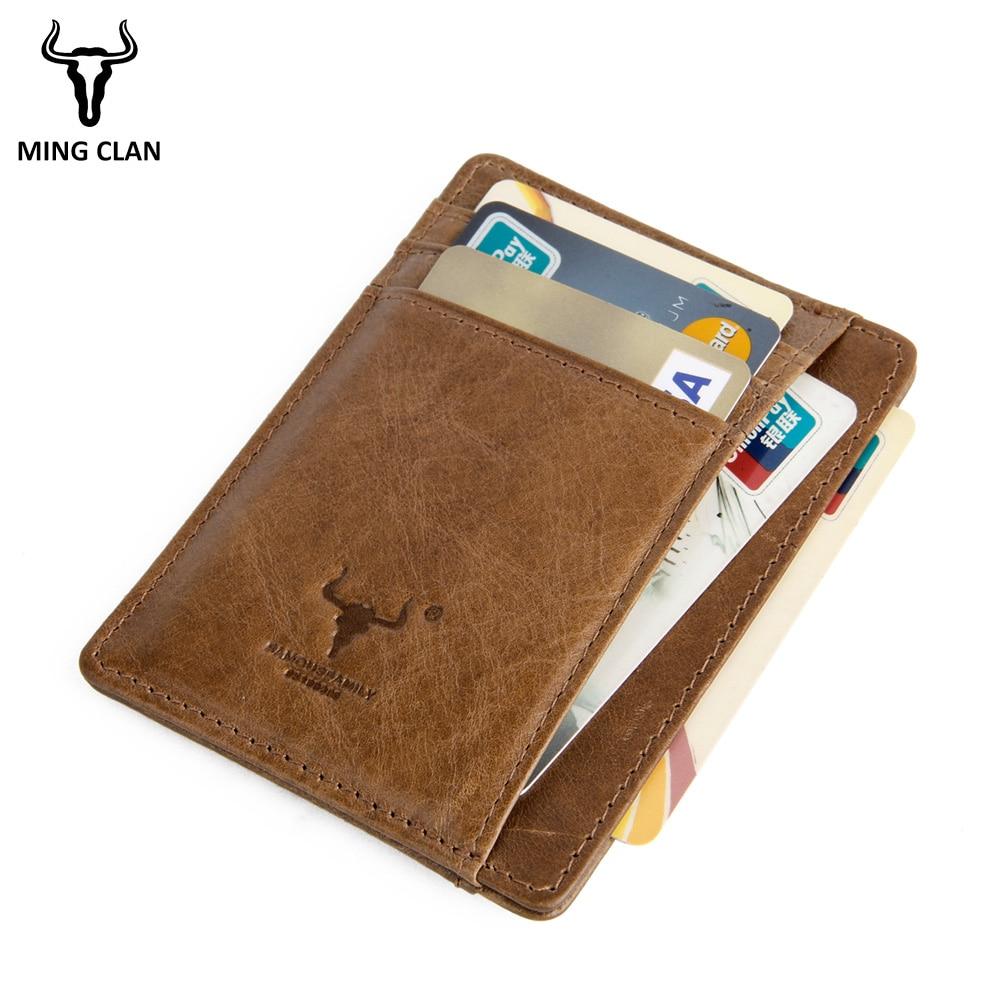 MingClan äkta läder unisex visitkort hållare plånbok bank - Plånböcker - Foto 4